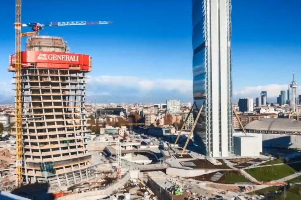 Milan CityLife Tre Torri Plaza Under Construction Timelapse